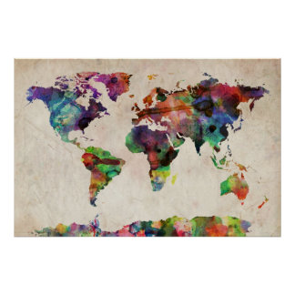 Aguarela urbana do mapa do mundo poster