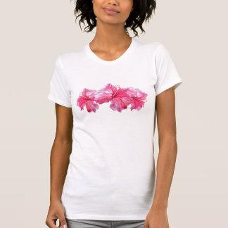 Aguarela vermelha do hibiscus tshirt