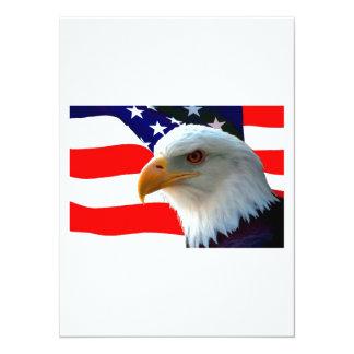 Águia americana americana & bandeira dos E.U. Convite 13.97 X 19.05cm