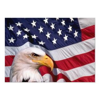 Águia americana americana e bandeira americana convite 12.7 x 17.78cm