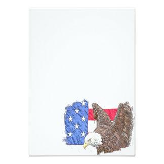 Águia americana com a bandeira americana convite 12.7 x 17.78cm