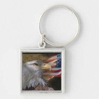 Águia americana e bandeira chaveiro quadrado na cor prata