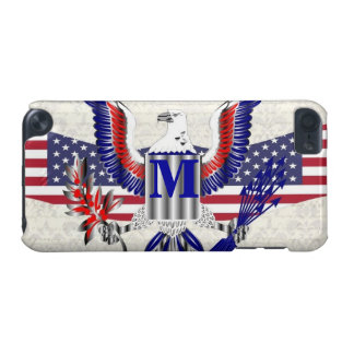 Águia americana patriótica monograma personalizado capa para iPod touch 5G