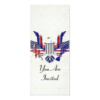 """Águia & bandeira americanas patrióticas convite 10.16"""" x 23.49cm"""