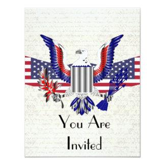 Águia & bandeira americanas patrióticas convite 10.79 x 13.97cm