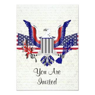 Águia & bandeira americanas patrióticas convite 11.30 x 15.87cm