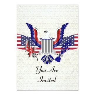 Águia & bandeira americanas patrióticas convite 12.7 x 17.78cm