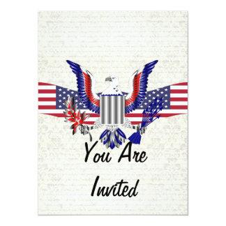 Águia & bandeira americanas patrióticas convite 13.97 x 19.05cm