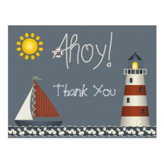 Ahoy barco de vela & obrigado do farol você cartão cartão postal