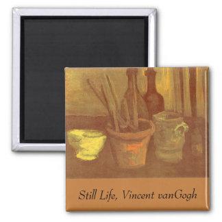 Ainda pincéis da vida em um pote Vincent van Gogh Ímã Quadrado