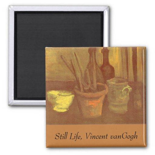 Ainda pincéis da vida em um pote Vincent van Gogh Imã De Refrigerador