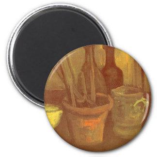 Ainda pincéis da vida em um pote Vincent van Gogh Ímã Redondo 5.08cm