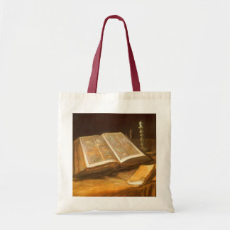 Ainda vida com a bíblia por Vincent van Gogh Sacola Tote Budget