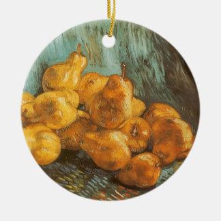 Ainda vida com as peras do marmelo por Vincent van Ornamento De Cerâmica Redondo