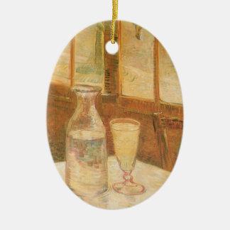 Ainda vida com o absinto por Vincent van Gogh Ornamento De Cerâmica Oval