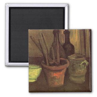 Ainda vida com pincéis em um pote por Van Gogh Imas De Geladeira