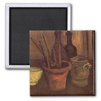 Ainda vida com pincéis em um pote por Van Gogh Imãs De Refrigerador