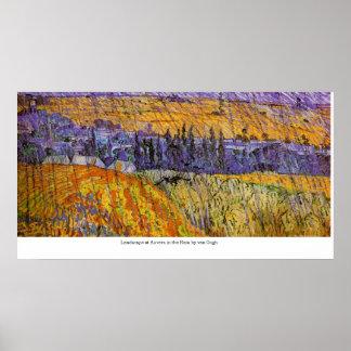 Ajardine em Auvers na chuva por Van Gogh Posters