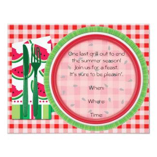Ajuste vermelho e branco da mesa de piquenique da convite 10.79 x 13.97cm