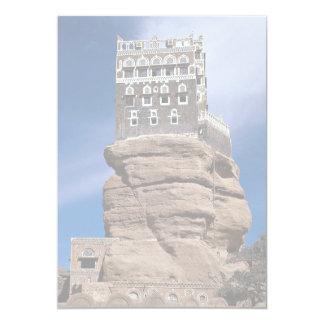 Al Hajjar de Dar (o palácio da rocha), Yemen Convite 12.7 X 17.78cm