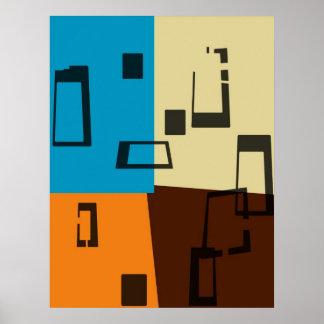 Alaranjado retro, azul, Brown, arte abstracta de c Poster