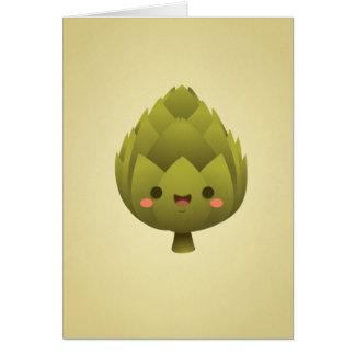 Alcachofra de Kawaii Cartão Comemorativo