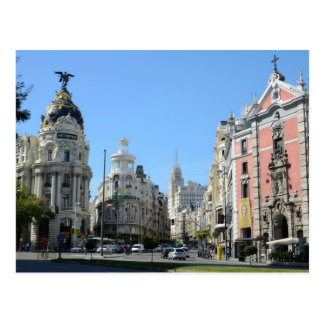 Alcala e Gran através de, cartão de Madrid