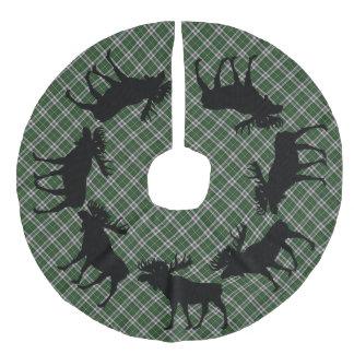 Alces bretães do tartan do cabo do Natal da saia Saia Para Árvore De Natal De Linho Falso