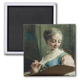 Alegoria da pintura ímã quadrado