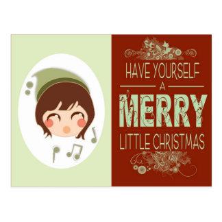 alegre pouco Natal Cartão Postal