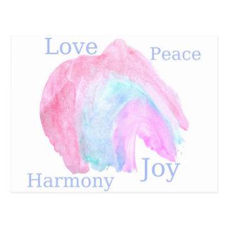 Alegria da harmonia do amor da paz cartão postal