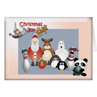 Alegria do Natal da boliche Cartão Comemorativo