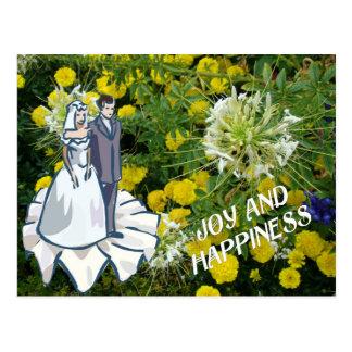 Alegria e felicidade, casal do casamento cartao postal