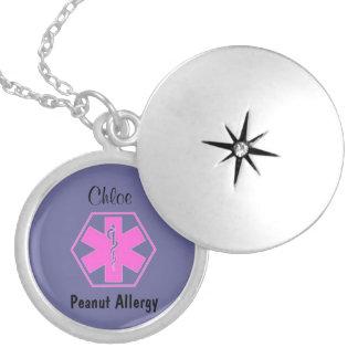 Alerta alerta médico customizável da alergia da colar banhado a prata