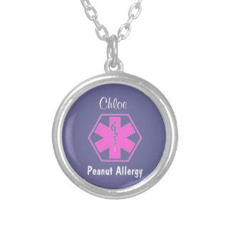 Alerta alerta médico customizável da alergia da colar com pendente redondo