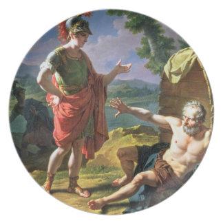 Alexander e Diogenes, 1818 (óleo em canvas) Louças De Jantar