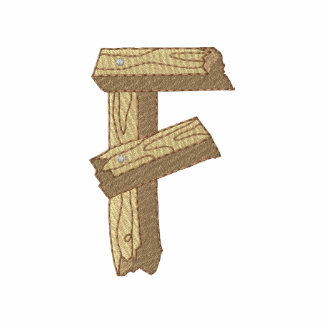 Alfabeto de madeira F Camiseta Bordada Polo