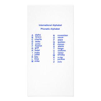 Alfabeto internacional cartão com foto