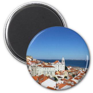 Alfama, Lisboa, Portugal Ímã Redondo 5.08cm