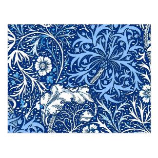 Alga de Nouveau da arte floral, azuis cobaltos e Cartão Postal