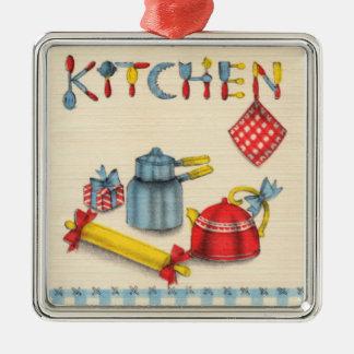 Algo para sua cozinha ornamento quadrado cor prata