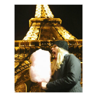 Algodão doce na frente da torre Eiffel Modelo De Papel De Carta