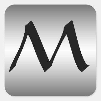 Algum monograma inicial em etiquetas do olhar do adesivo quadrado
