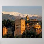 Alhambra; Granada; Andaslusia, espanha, serra Pôster