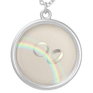 Alianças de casamento do arco-íris colar banhado a prata