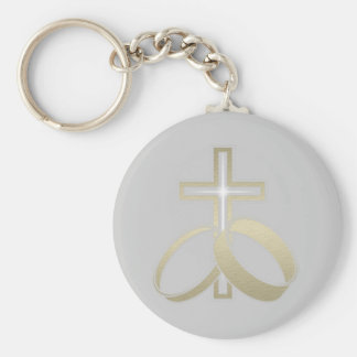 Alianças de casamento do ouro e presentes transver chaveiro