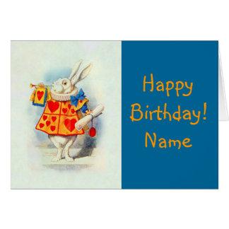 Alice em corações do vermelho do coelho do cartão
