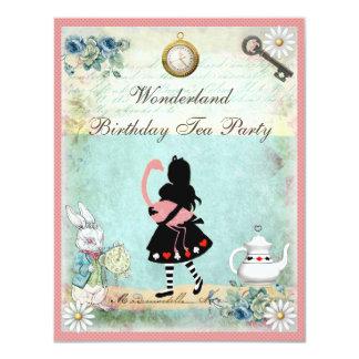Alice, flamingo cor-de-rosa & festa de aniversário convite 10.79 x 13.97cm