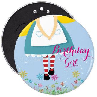 Alice no botão da menina do aniversário do país bóton redondo 15.24cm