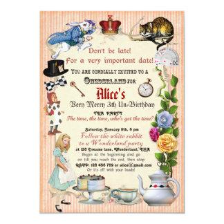 Alice no convite de aniversário do país das